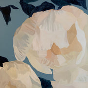White Peonies on Slate Blue 2 Giclee