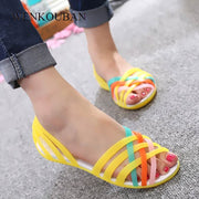 Summer Sandals Women Jelly Shoes Female Flat Shoes Ladies Slip On Woman Candy Color Peep Toe Women's Beach Shoes Sandalias Mujer - Bottines Femmes FRANCE