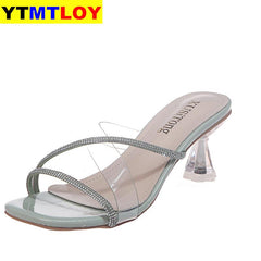 Summer Fashion Women's Sandals Transparent Tape Pvc Women Shoes Rome High Heel Open-toe Women Shoes Gladiator Sequined Cloth - Bottines Femmes FRANCE