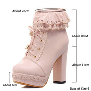 SARAIRIS Ladies Ankle Boots Women Shoes Sweet Lace Lolita Lovely Cosplay Platform Ladies High Heels Boots Woman Plus Size 48 - Bottines Femmes FRANCE