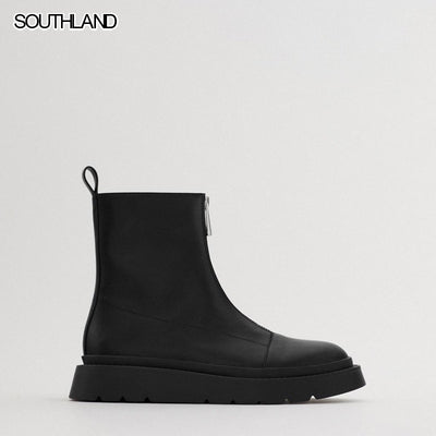 SOUTHLAND Women's Boots Autumn Winter Shoes Black Zipper Flat Ankle Boot Female Motorcycle Boots - Bottines Femmes FRANCE
