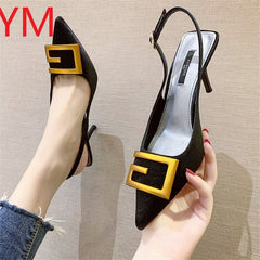 Slingback Sexy Women Pumps Fashion Ladies High Heels Shoes Soft Leather Heels Shoes Woman Pointed Toe Non-slip Brand Summer 2020 - Bottines Femmes FRANCE
