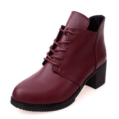 Chaussures pour femmes hiver Angleterre dentelle bottes pour femmes bottes Martin bottes pour femmes tête ronde - Bottines Femmes FRANCE