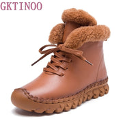 Winter Female Plus Velvet Genuine Leather Shoes Snow Platform Boots Women Thermal Cotton-padded Shoes Flat Ankle Boots - Bottines Femmes FRANCE