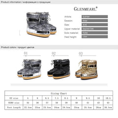 Snow Boots Winter Ankle Boots Women Shoes Fur Warm Boots Female Plus Size Casual Shoes Platform Non Slip Gold Bling Lack Up DE - Bottines Femmes FRANCE