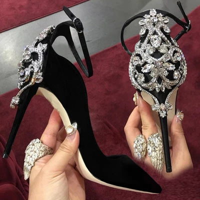 Shoes Women 2020 high heels Sexy Ankle strap Sandals crystal Glitter stiletto Female party pumps cover heels sapato feminino - Bottines Femmes FRANCE