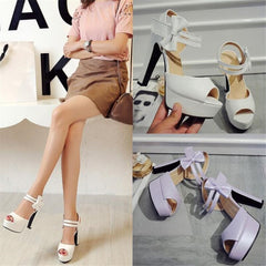 Sandals female summer 2020 new high-heeled fish mouth shoes bow sexy rough with waterproof platform Roman women's shoes - Bottines Femmes FRANCE