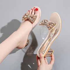 Summer Women's Rhinestone Crystals Heels Peep Toe Sandals sexy Clear Heels Slippers Square Heeled Ladies shoes pumpl Sandals - Bottines Femmes FRANCE