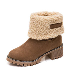 Rimocy Women's Suede Snow Boots Winter 2020 Thicken Warm Plush Faux Fur Ankle Boots Women Plus Size 43 Heels Booties Shoes Woman - Bottines Femmes FRANCE