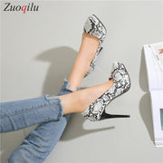 Snake Skin platform heels female sexy high heels ladies pumps women shoes thin heels evening party shoes - Bottines Femmes FRANCE