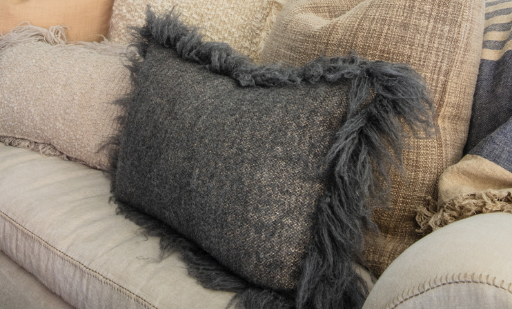 Fuzzy Grey Pillow: Linen/Alpaca Wool