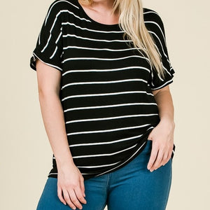 Nice and Easy Striped Top in Black PLUS