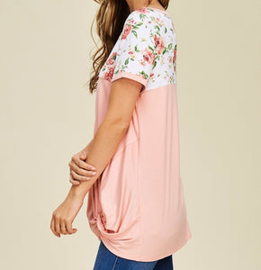 Look of Love Floral Color Block Top