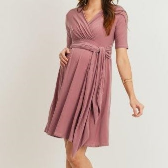 Be My Baby Dress in Mauve MATERNITY