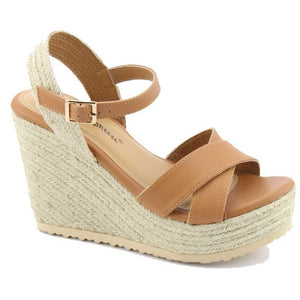 Roman Holiday Wedge Sandals in Camel