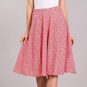 Pick Me a Posy Floral Skirt in Red