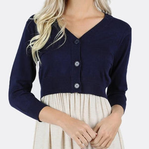 Navy Cropped Cardigan