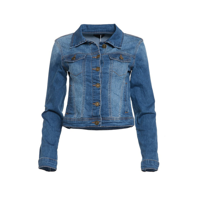 Medium Wash Stretch Denim Jacket