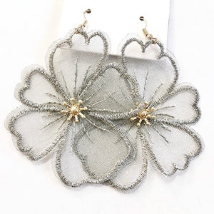 Lace Flower Earrings in Gray