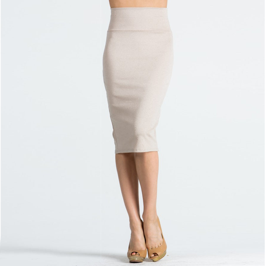 Wardrobe Staple Pencil Skirt in Taupe