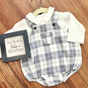 Baby Boy Plaid Bubble Romper Set