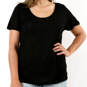 Let's Get Away from It All Slub Tee in Black PLUS
