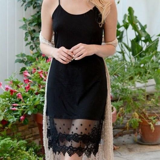 Pardon My Lace Slip Dress Extender in Black