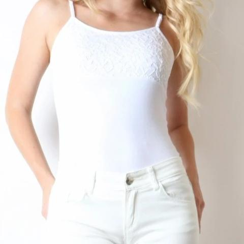 Feeling Fine Lace Bust Camisole in White