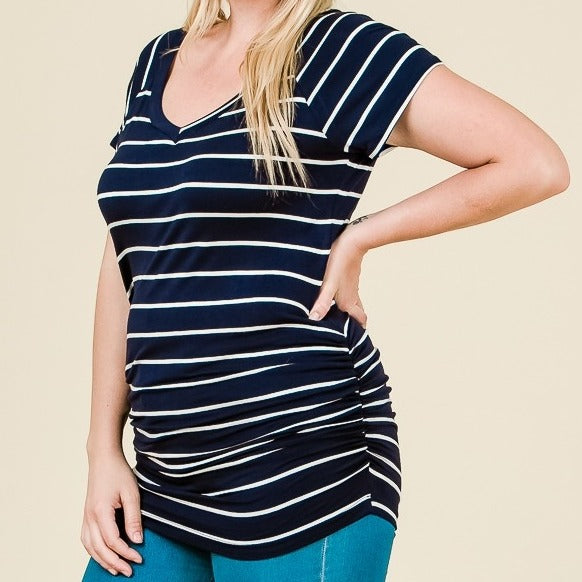 You're My Favorite Striped Top in Navy PLUS