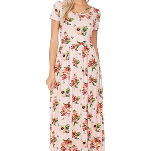 Sunday Stroll Floral Dress in Blush
