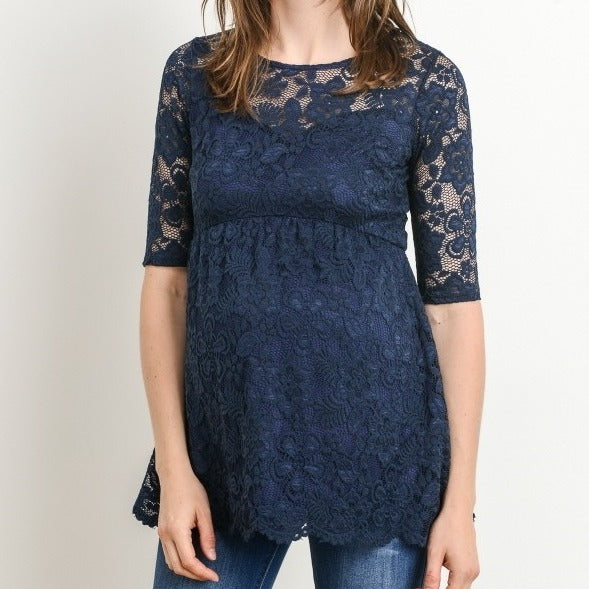 Lifetime of Love Lace Top in Navy MATERNITY