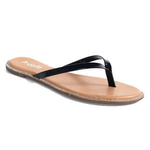 Sparkle Darling Narrow Strap Flip Flops in Black