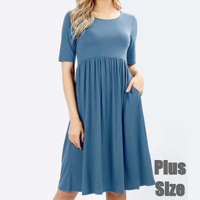 Up a Lazy River Viscose Dress in Blue PLUS