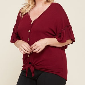 Buttons and Bows Ruffle Sleeve Top in Burgundy PLUS
