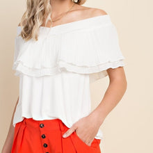 Load image into Gallery viewer, Isn't it Romantic Off Shoulder Ruffle Top in Off White