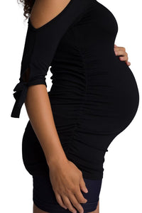 Lovely As Always Shirred Top in Black MATERNITY