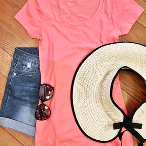 Keeping it Basic Cotton Tee in Coral