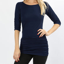 Load image into Gallery viewer, Navy Shirred Tunic Top