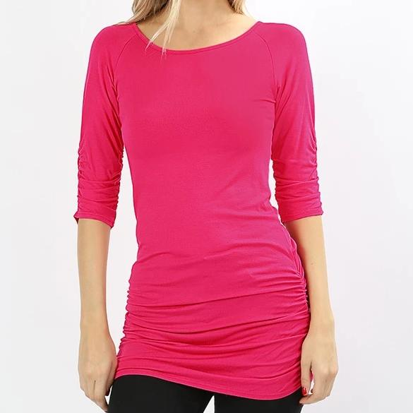 Pink Shirred Tunic Top