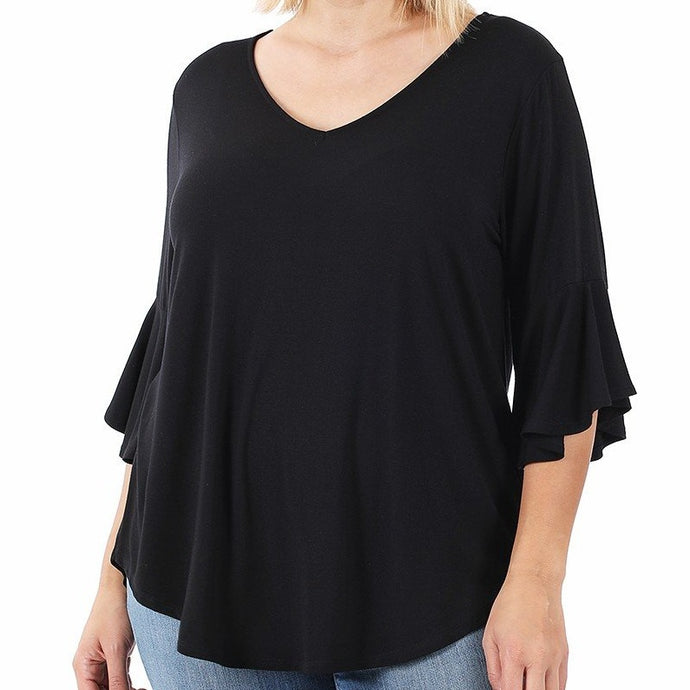 City Streets Ruffle Sleeve Top in Black PLUS