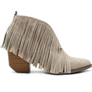 Lowcountry Girl Fringe Ankle Boots in Gray