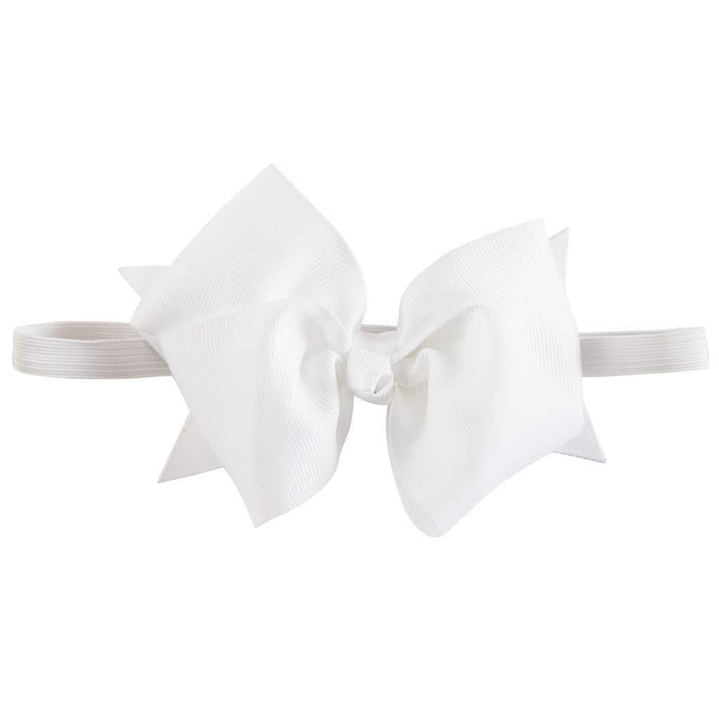 Elastic Headband Bow in White