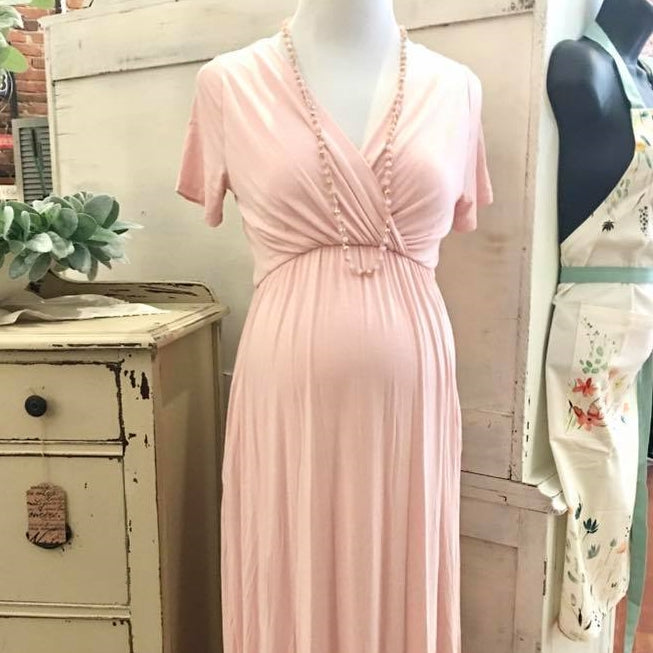 Just a Dream Maxi Dress in Blush MATERNITY