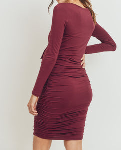Welcome to the World Shirred Dress in Burgundy MATERNITY