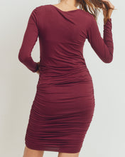 Load image into Gallery viewer, Welcome to the World Shirred Dress in Burgundy MATERNITY