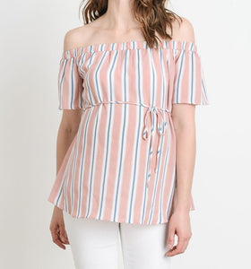Somebody Loves Me Striped Off Shoulder Top MATERNITY