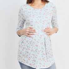 Load image into Gallery viewer, Floral Dreams Pleated Top in Blue MATERNITY
