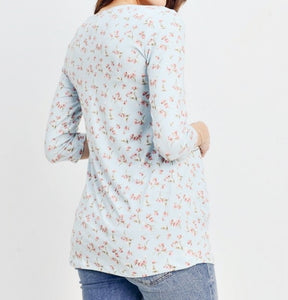 Floral Dreams Pleated Top in Blue MATERNITY