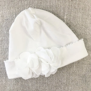 Soft Baby Cap with Chiffon Flowers