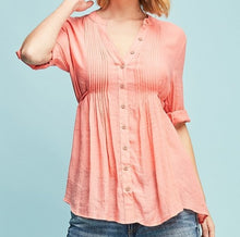 Load image into Gallery viewer, Love Walked In Crinkle Button Down Blouse in Coral
